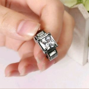Other - White Sapphire 10KT Black Gold Filled Ring Size 7